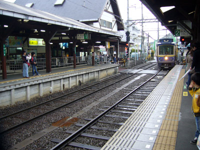 Enoshima Train approaching from Station Platform