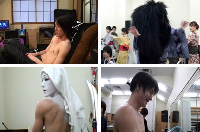 Takki in dressing room, Kabuki practice and make up
