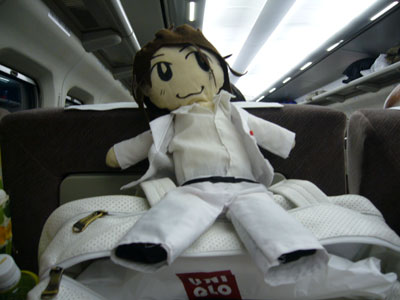 Takki doll photoshoot on shinkansen